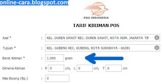 Tarif Kiriman Pos online