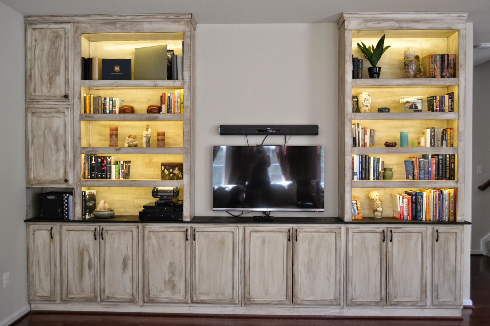 Do it yourself danielle built in entertainment center for Do it yourself built in bookshelves