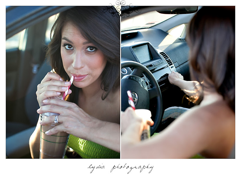 Lifestyle maternity portraits drinking Starbucks at William Jessup University in Rocklin, California