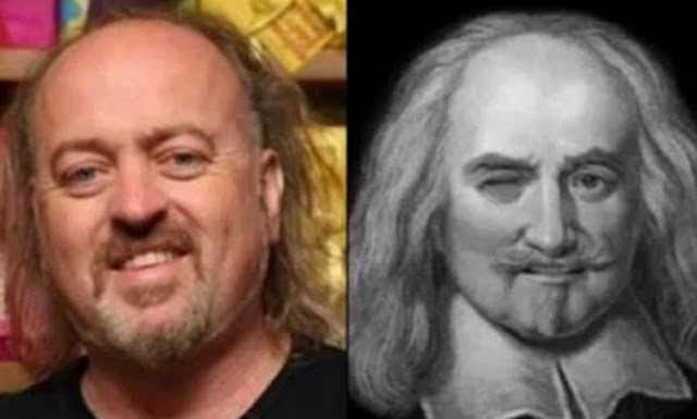 Parecidos razonables: Bill Bailey y Thomas Hobbes.