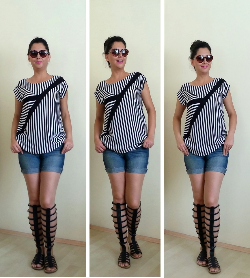 Sewing project, Gladiator Sandals, Sew, Blouse, Top, Black and White Top