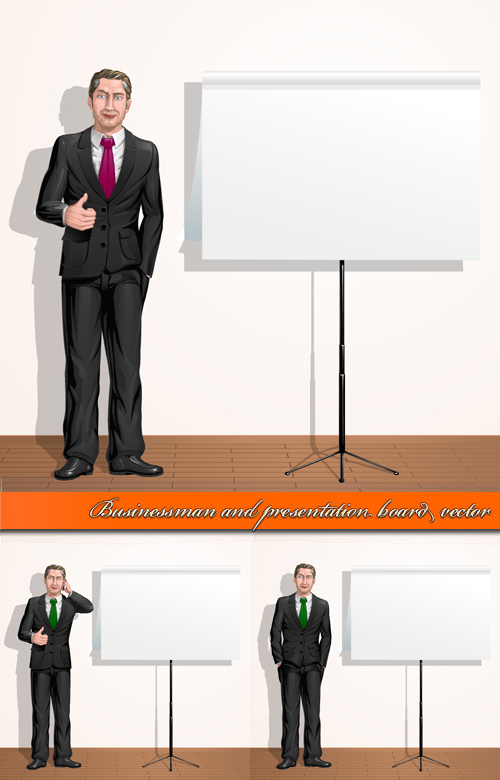 Businessman and Presentation Board