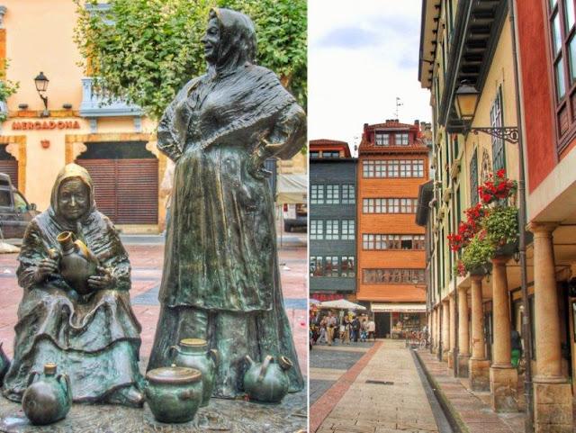 Escultura Vendedoras del Fontan de Favia en el Mercado del Fontan de Oviedo