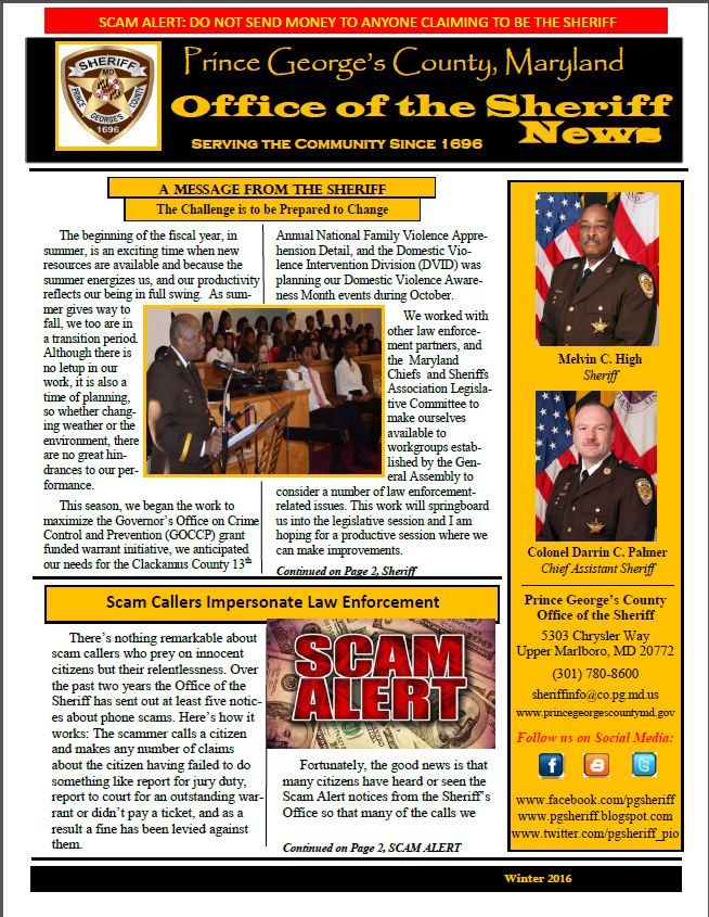 Sheriffu0027s Office Newsletter  January 2016