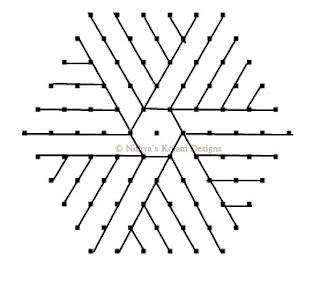 5 Triangle kolam Interlocked dots 11 x 6