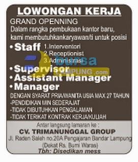 Lowongan Kerja Lampung Tri Manunggal Group 7 Juli 2014