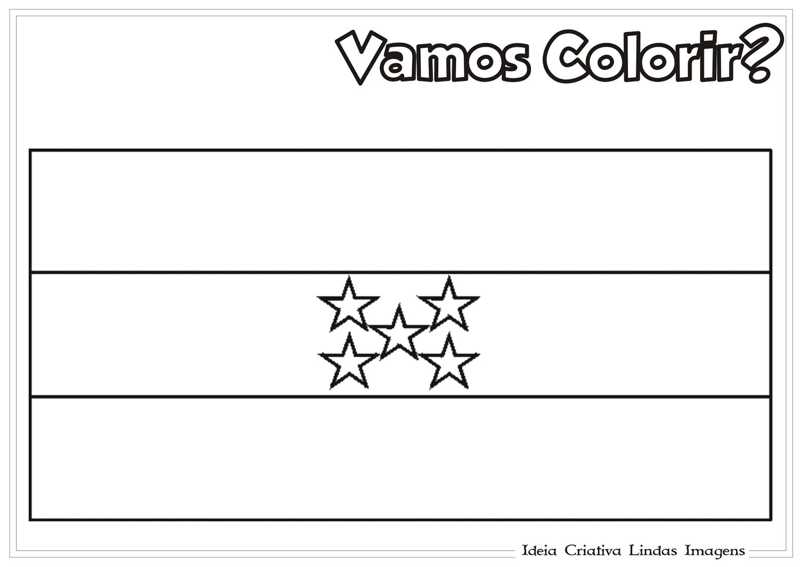 Copa do Mundo 2014 - Grupo E: Bandeira de Honduras para colorir