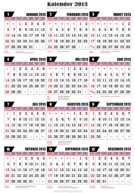 Adapun rincian hari libur nasional pada kalender 2013 adalah