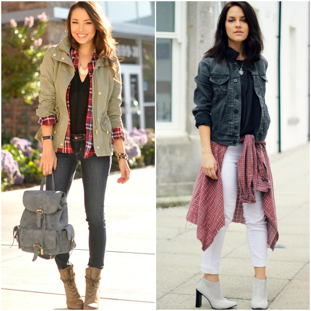 university outfit ideas - plaid tartan shirts - white skinny jeans - heeled ankle boots - dark wash denim jacket - khaki utility jacket - street style fashion blogger looks