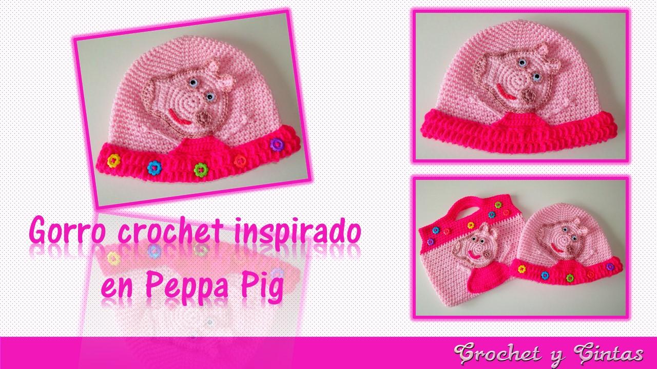 Gorro Crochet Peppa Pig para niñas ~ Crochet y Cintas
