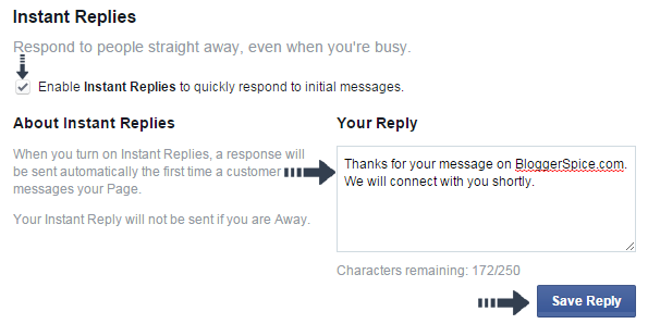 instant reply on Facebook
