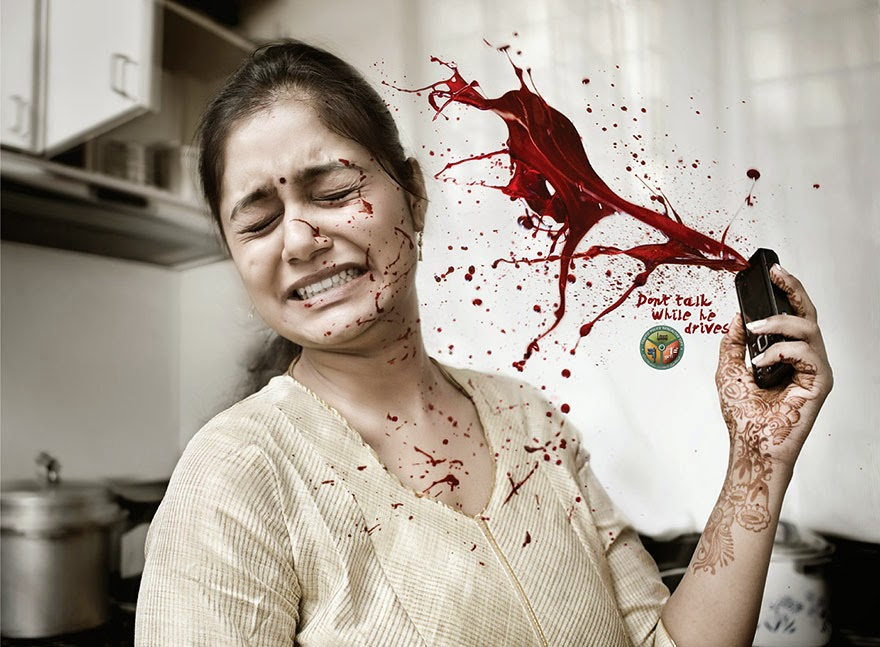 40 Of The Most Powerful Social Issue Ads That'll Make You Stop And Think - Bangalore Traffic Police: Don't Talk While Driving
