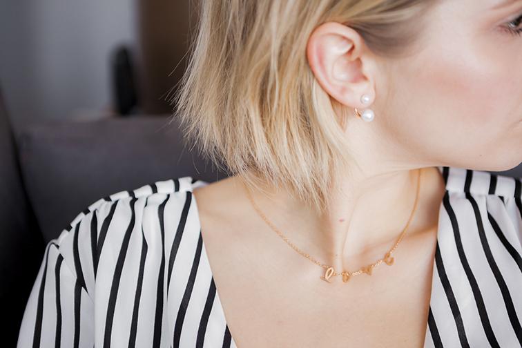 Chic Peek gold love chain, ASOS double pearl earrings