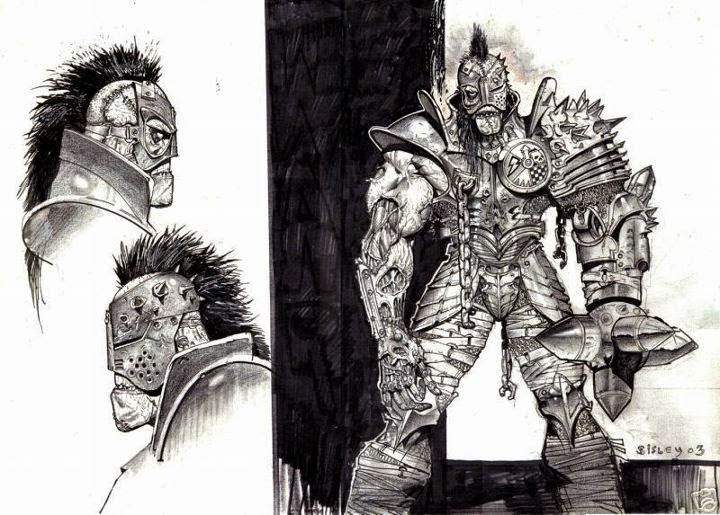 Dessin de Simon Bisley représentant une guerrière en armure imposante et ses deux profils en noir et blanc