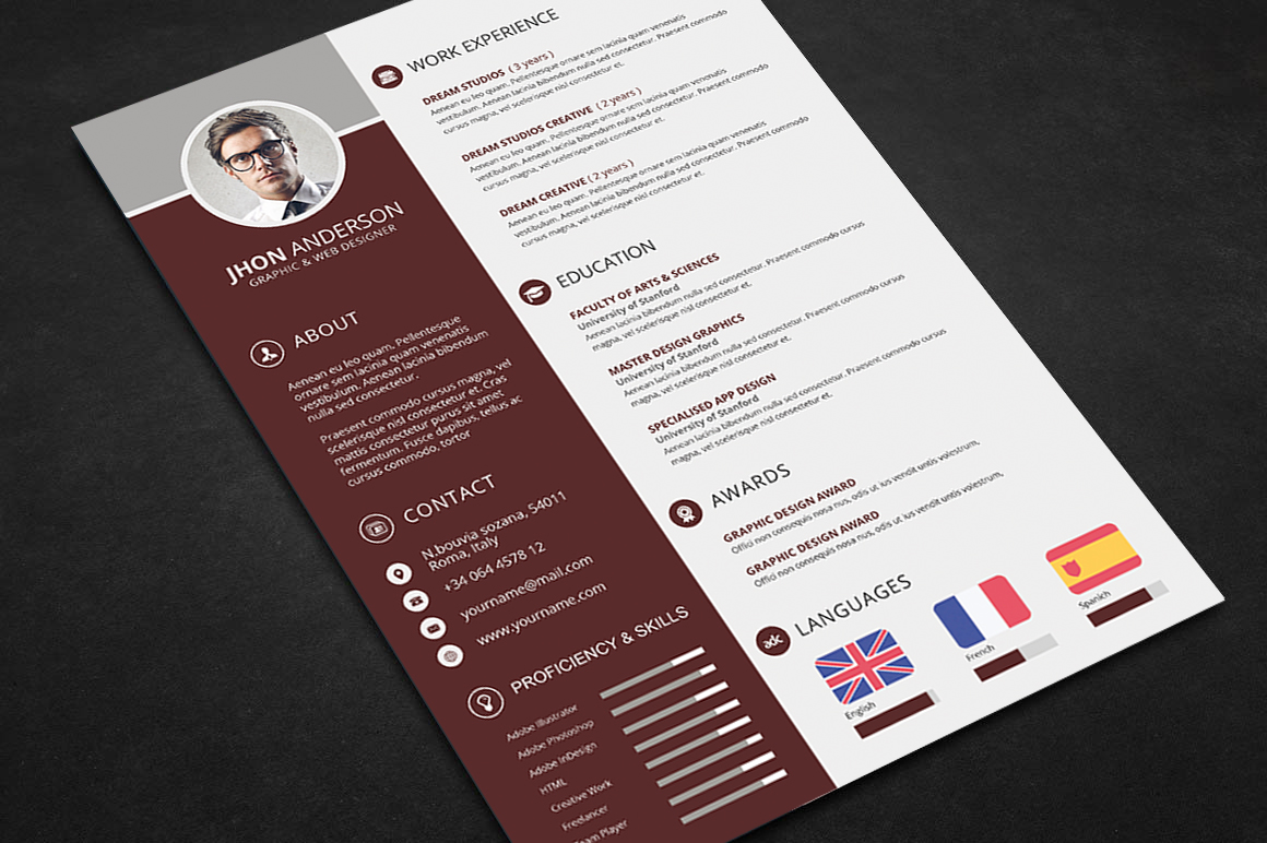 professional resume cv template psd files graphic web resume template pack for ms word docx doc and photoshop psd and pdf