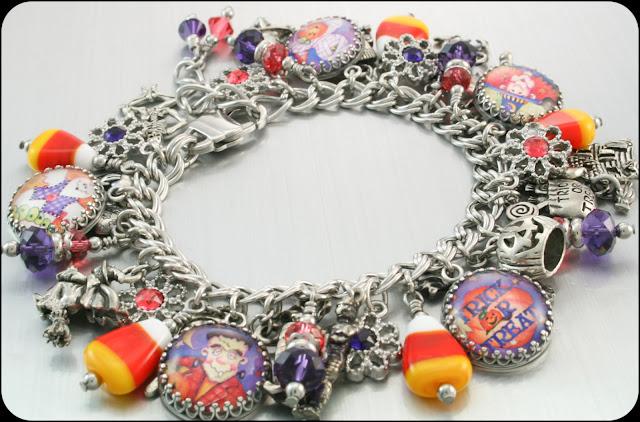 corn candy charms, halloween charm bracelet, ghost bracelet, halloween jewelry, stainless steel charm bracelet