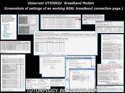 screenshots of configuration settings of a working broadband adsl modem of utstarcom ut300r2u