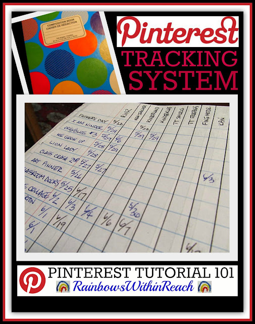 photo of: Pinterest Tracking Chart from Pinterest Tutorial at RainbowsWithinReach