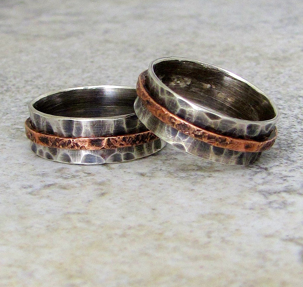 Smell This Silver Wedding Bands Hammered Rustic