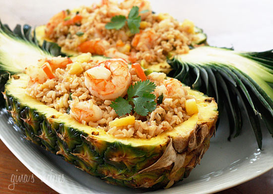 fried rice dish made with brown rice, shrimp and pineapple. A ...