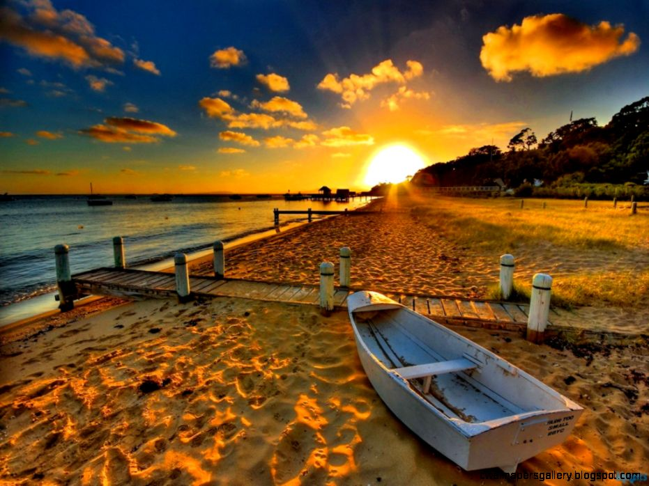 Sunset Beach Widescreen High Resolution Wallpaper Free