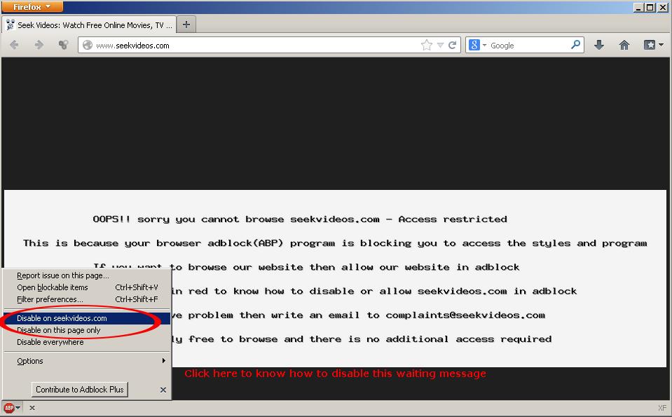 disable adblock or whitelist the website in adblock abp computer