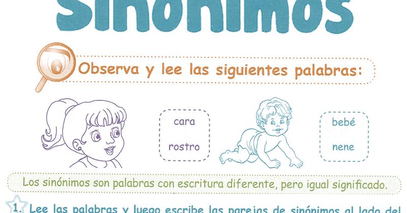 Sinónimos para niños 1° Grado Primaria | Razonamiento Verbal - photo#43