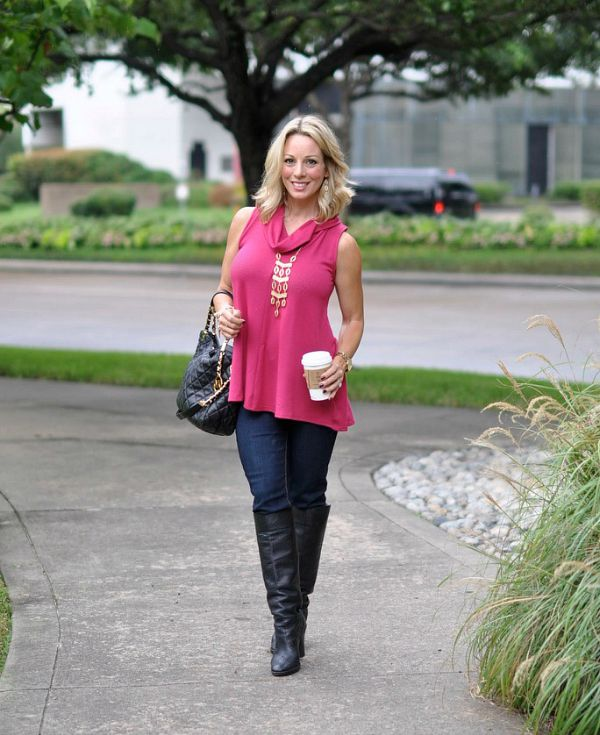 Fall fashion - Jolt skinny jeans, loose top, tall boots