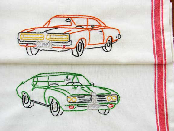 embroidered cars