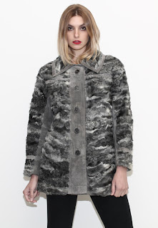 Vintage 1960's grey dimensional colored suede and Persian lamb fur coat.
