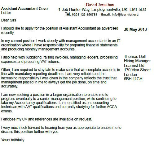 accountant cover letter accounting cover letters - Cover Letter Accounting Position