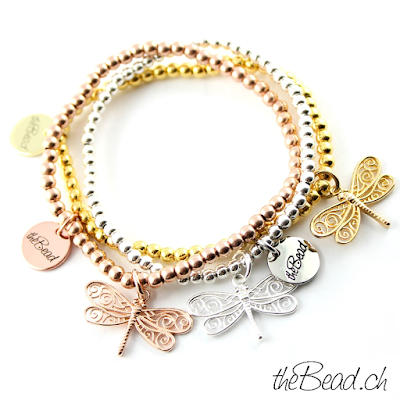 Libellen Silber Kugel Armbänder in rosevergoldet, vergoldet und silber alles aus 925 silberperlen