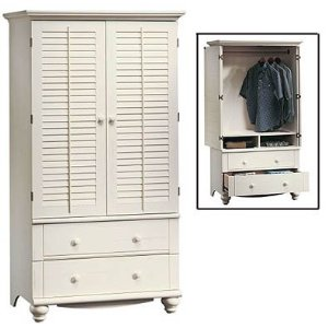 Beau Sauder Harbor View Armoire In Antiqued White