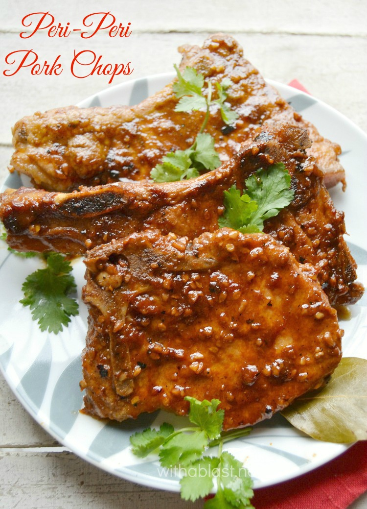 Peri-Peri Pork Chops ~ These Peri-Peri Pork Chops are made in a skillet, in a delicious, spicy, hot Peri-Peri Tomato Sauce