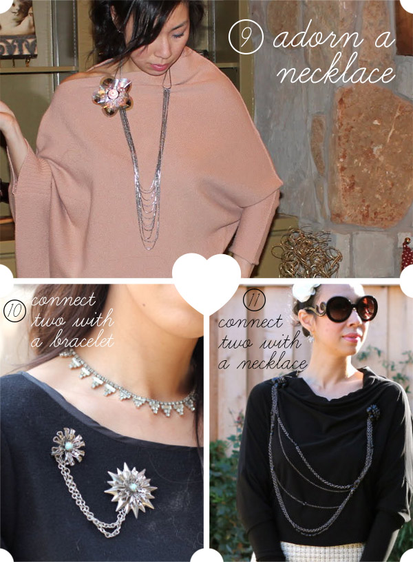 style of sam, how to wear a brooch, ways to wear a brooch, on a necklace, connect a bracelet, connect a necklace