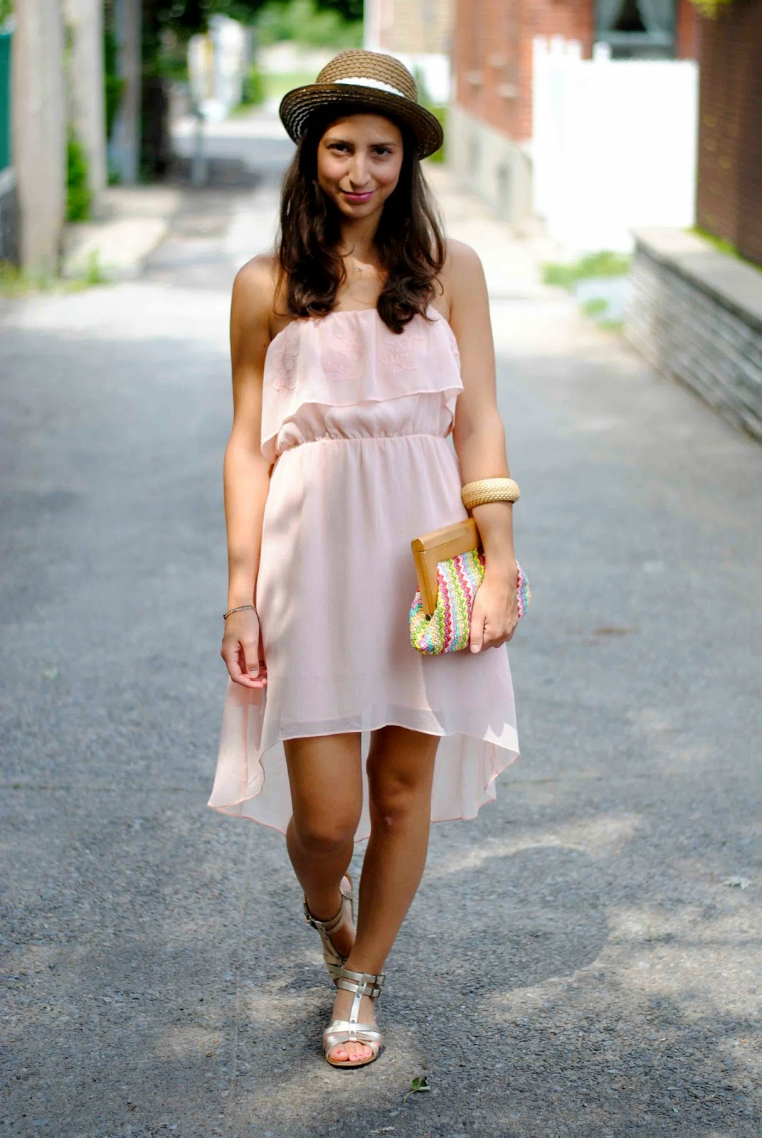 summer dress fashion Forever 21 straw hat gold gladiator sandals