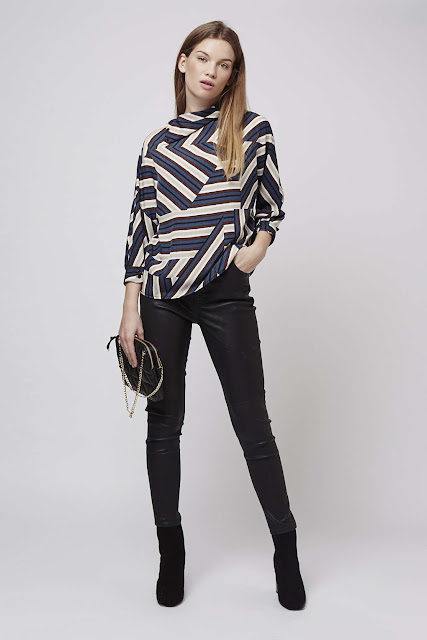 chevron long sleeve top, high neck chevron top,