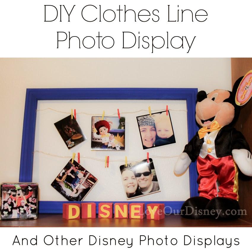 DIY Clothesline Photo Display and Disney Character Frames by LoveOurDisney.com