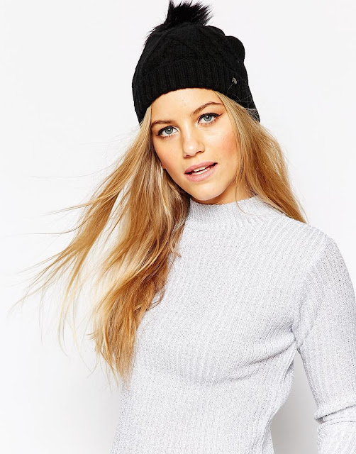 ted baker black pom pom hat, ted baker black beanie, black cable pom hat,