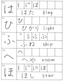 menulis hiragana hahifuheho