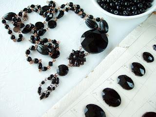 Czechoslovakia vintage beads black jet nailheads