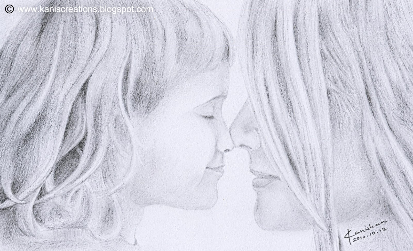 pencil art mother child relationship