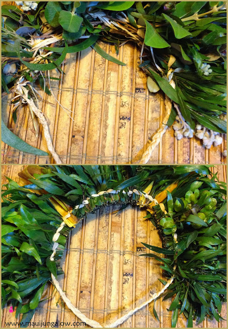 Comparison of two haku leis, one made by a beginner, one by an expert