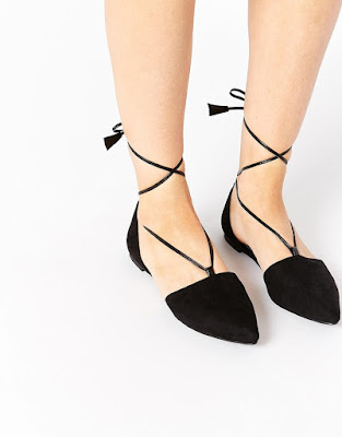 Asos black lace-up flats