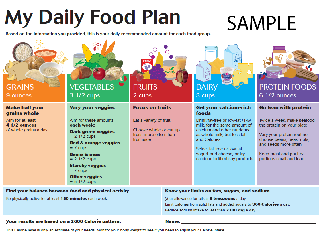 My Daily Food Plan Chart
