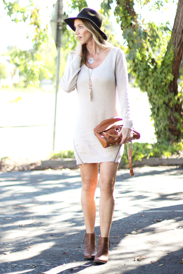 sweater dress with zip detail and hat fall style