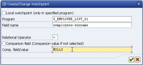 Watchpoints in SAP ABAP debugger screen