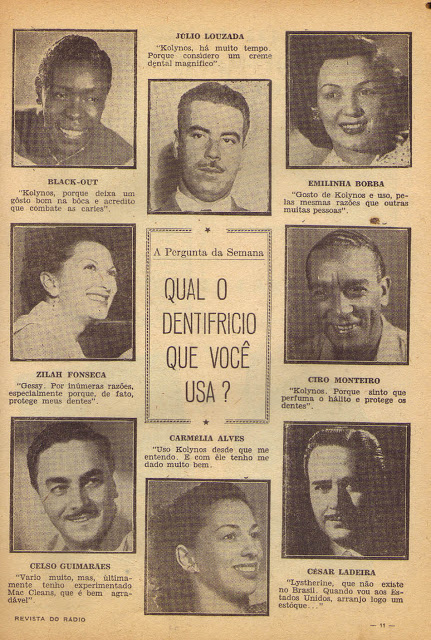 Celebridades dos anos 40 em um anúncio para promover o Dentrifício Kolynos.