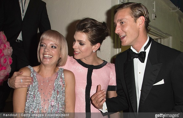Lily Allen, Charlotte Casiraghi and Pierre Casiraghi attend the Rose Ball 2015 in aid of the Princess Grace Foundation at Sporting Monte-Carlo