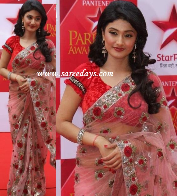 Latest saree designs ragini khanna in pink designer netted saree checkout actress ragini khanna in pink designer netted saree with velvet floral work on the saree and silverwork border and paired with matching ruffled altavistaventures Image collections